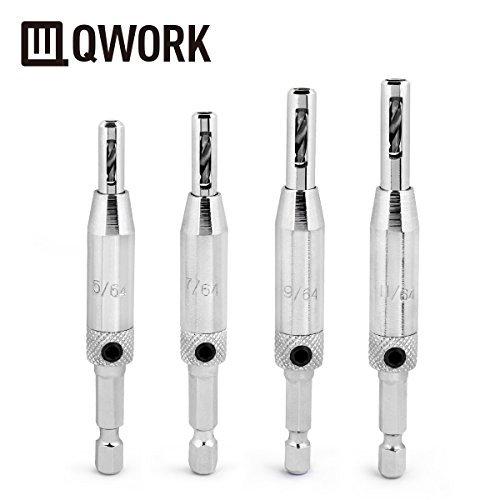 QWORK - Set  da 4 pezzi di punte per trapano autocentranti per cerniere porta: 2mm, 3mm, 3,6mm, 4,4mm.