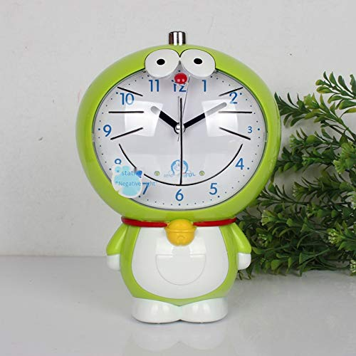 Xiaodong Boutique Wohnzimmer Uhr Niedlich Uhr Persönlichkeit Wecker Kreative Uhr Grüne Jingle Cat 03 Faul Aufstehen + Glocke Läuten