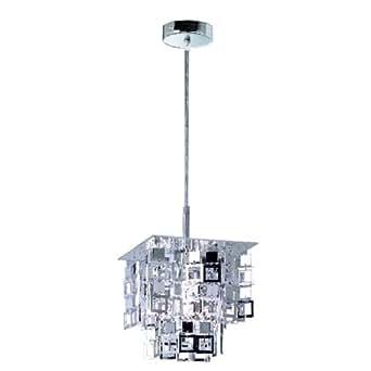 Reality Trio lampe suspension lustre, pampilles chromés, 24x24cm