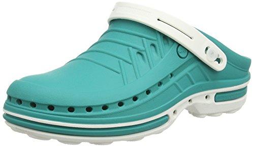 Wock clog con cinturino - calzatura professionale sterilizzabile; antistatica; antiscivolo; antiurto - bianco/verde - uk : 4.5 ; eur : 37-38