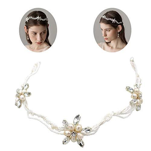 roroz Hochwertige natürliche Süßwasserperlen-Braut-Tiara, gewellte Hand, die gebrochene Perlen, Hochzeits-Haarband-Stirnband-Tiara-Zusatz trägt,Silver
