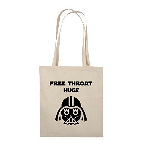 Comedy Bags - FREE THROAT HUGS - Jutebeutel - lange Henkel - 38x42cm - Farbe: Schwarz / Pink Natural / Schwarz