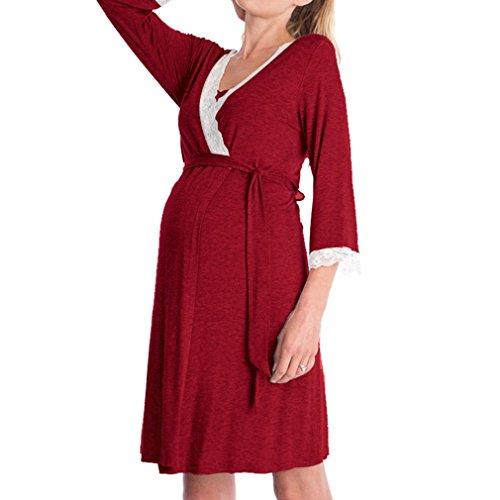 WEIMEITE Umstandskleid Pflege Nachthemd für Stillen Nachthemd Nachtwäsche Neue Ankunft Weinrot-B XL -
