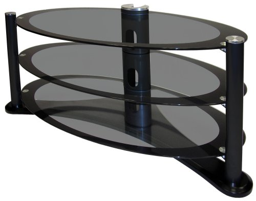 "Icon Oval 4250 - Premium Glass Stand For LCD & Plasma TV Up to 50"" - High Gloss Black"