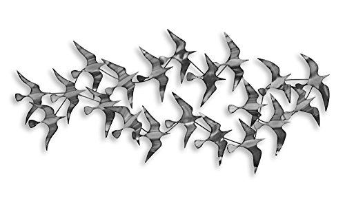 Arte Dal Mondo BP6093 Wandverzierung Schwarm Seemöwen Wandskulptur aus Metall handgefertigt, silber, 60 x 131 x 10 cm
