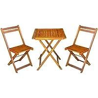 Mcombo 3tlg Jardín Balcón Juego de mesa de jardín mesa silla madera de acacia Certificación FSC
