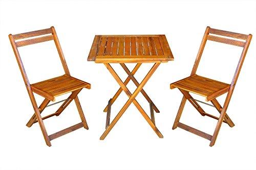 MCombo 3tlg Gartenset Balkonset Gartentisch Tisch Stuhl Akazienholz FSC zertifiziert