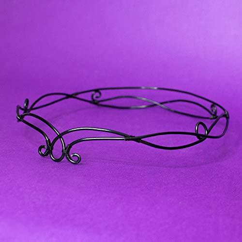 Avada elfic wire tiara, Tiara elfen Stil für Hochzeiten, Kostüme, Mottopartys, LARP, schwarze Farbe, Haarschmuck, - Kostüm Diademe