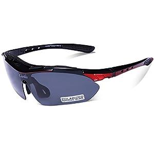 Carfia TR90 UV400 Unisex Gafas de Sol Deportivas Polarizadas 5 Lentes de Cambios Incluido para Deporte y Aire Libre Ciclismo Conducción Pesca Esquiar Golf Correr Brillo Negro + Rojo