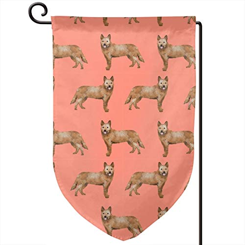 vintage cap Australian Cattle Dog red Heeler Dogs cu Polyester Garden Flag House Banner 12.5 x 18 inch, Two Sided Welcome Yard Decoration Flag for Wedding Party Home Decor -