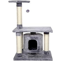 Dibea KB00223 Árbol Rascador Escalador para Gatos, Altura 90 cm, Color Gris Claro