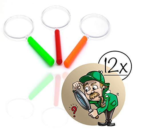 gemischte Farben| Lupe f. Forscher & Detektive zum erforschen von Insekten Pflanzen usw. | Taschenlupe als Mitgebsel Mitbringsel Gastgeschenk Giveaways zum Kindergeburtstag (12x) ()