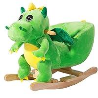 Deuba Rocking Horse 75cm Sounds Wooden Horse Unicorn Dinosaur Rocker Soft Plush Toddler Kids Baby Children Christmas Toy
