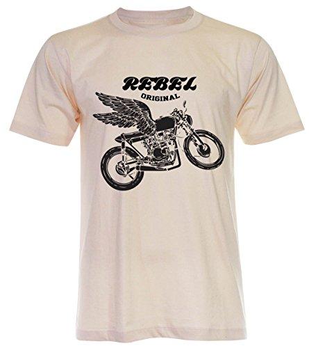 PALLAS Unisex's Motorcycle Club Rebel Vintage T Shirt Light Beige