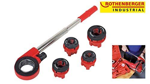 ROTHENBERGER Industrial Super Cut Premium - 7 teiliger Gewindeschneidkluppensatz - Inkl. 4 Schneidköpfen 070669E