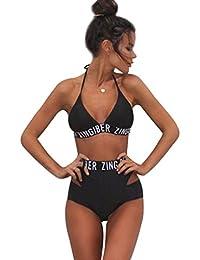 Maillot de Bain Taille Haute Triangl Bandeau Push Up Rembourré Licou Bustier Sans dos 2 Pièces Bikini Trikini Femme Tankini Tanga Mayo de Bain Traverser Maillot de Piscine Deux Pièces