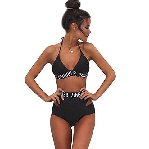 Maillot de Bain Taille Haute Triangl Bandeau Push Up Rembourré Licou Bustier Sans dos 2 Pièces Bikini Trikini Femme Tankini Tanga Mayo de Bain Traverser Maillot de Piscine Deux Pièces L