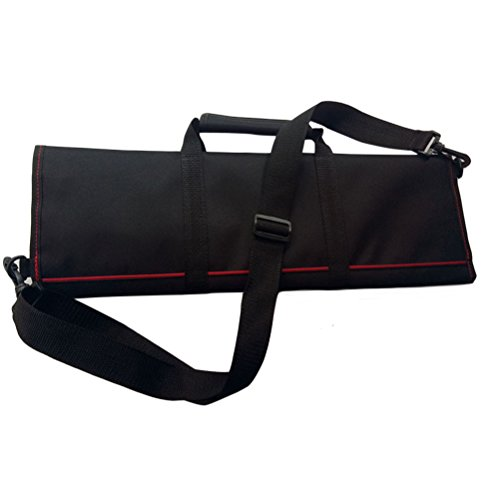 BESTOMZ Professional Chef Knife Case Knife Roll Bag Chef Bag Cutlery Holder Organizer With Shoulder Strap (Black)