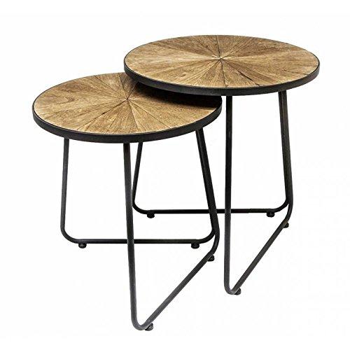 Lot de 2 Tables Basses Consoles Dessertes Gigognes Rondes et Piétement Triangulaire en Bois Sculpté et Fer Patiné Noir