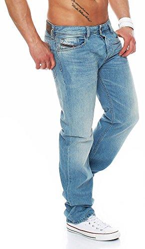 DIESEL Jeans Waykee Regular Straight Denim Hose, Hellblau OR10A, 33W / 32L