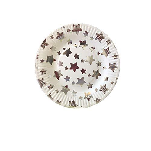 Tiandaochouqin High-End fünfzackigen Stern Thema Geschirr Set 30 PCS Platte Pappbecher Einweg-Papierhochzeitsbankett Picknick Multifunktionsintegrierter Leichtbau,silverplate Rose Silverplate