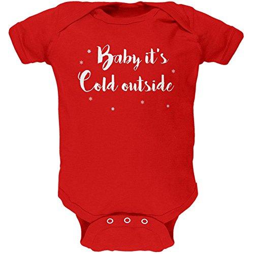 Old Glory Weihnachten Baby es ist kalt draußen Skript Schneeflocken weiche Baby EIN Stück rot 0-3 M