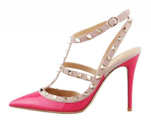 Slingback Heels (Onlymaker Damenschuhe High Heels Spitze Toe Schnalle Slingback Sandale Glattleder Pink EU38)
