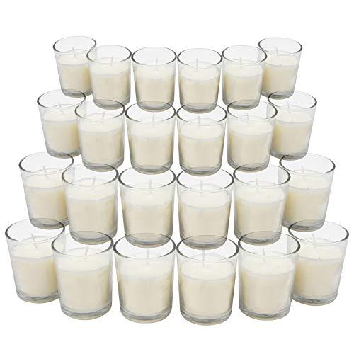 BELLE VOUS Velas Votivas en Portavelas de Cristal Set 24 Piezas - Portavelas de 6,5cm Vidrio Transparente con Cera Blanca sin Aroma para Regalos, Boda, Regalos de Fiesta y Decoración del Hogar