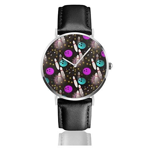 Nacht Spaß Bowling Black Quartz Movement Edelstahl Lederband Uhren Casual Fashion Armbanduhren