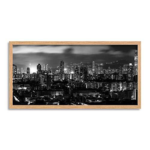 Wee Blue Coo LTD Hong Kong City Lights Long Panel Framed Wall Art Print Stadt Licht Mauer -