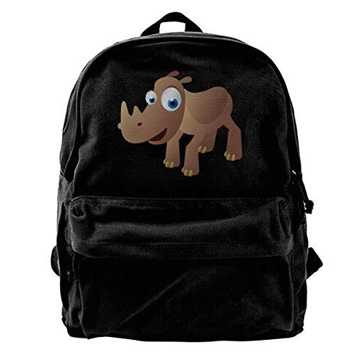 Rucksäcke, Daypacks,Taschen, Classic Canvas Backpack Cartoon Rhino Unique Print Style,Fits 14 Inch Laptop,Durable,Black - Rhino Canvas Print
