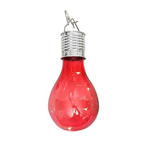 FeiliandaJJ Solar Glühbirne LED Licht Outdoor Wasserdicht Drehbare Hängende LED Birne Glühlampe für Garten Camping Hochzeit Party Halloween Xmas Innen/Außen Haus Deko (Rosa) (Led-haus-glühlampen)