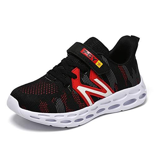 HSNA Scarpe Sportive per Bambini Traspirante Scarpe da Corsa Assorbimento d'urto Sneakers Ragazzo (Nero 37 EU)