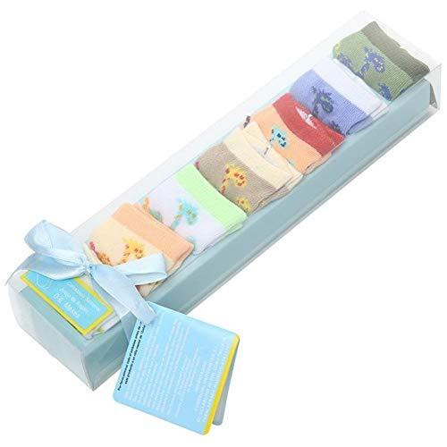 MINGYUECHAO 7 Stücke 0-1 Jahre Baby Socken Mit Atmungsaktiv Und Schweißabsorption Reine Baumwolle Brief Geschenkbox Neugeborenen Socken (Color : Gray, Kid Size : 12M) - 12mo Einem Stück