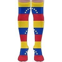 Bandera de Venezuela de poliéster y algodón sobre la rodilla de las piernas calcetines de alta calcetines de muslo unisex calcetines de cosplay bota de ...