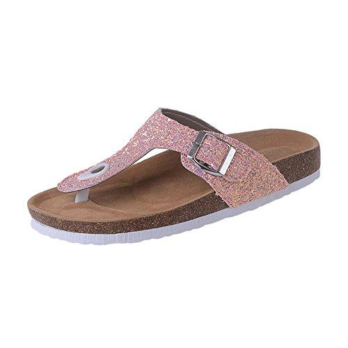 Damen Pailletten Sandalen - Zehentrenner, Kork Pantoletten Pink