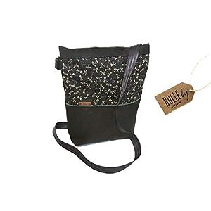 Tasche A5 ☆ midi *Libellen schwarz:grau* ☆ Tablet Canvas Baumwolle Schultertasche Handtasche Umhängetasche praktisch robust wasserabweisend handgemacht Damen