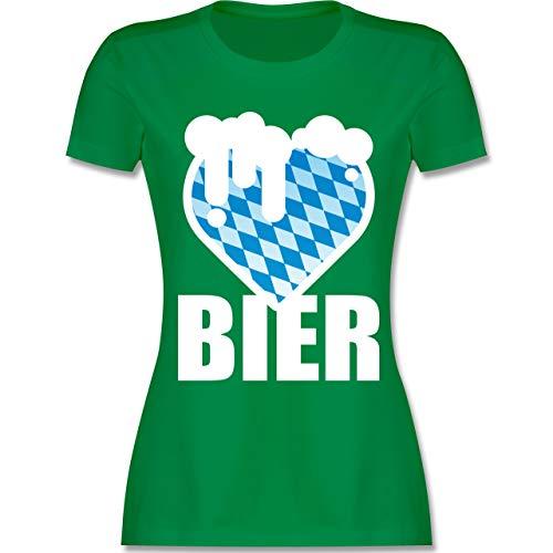 Oktoberfest Damen - Bier mit Herz mit Bayrischem Muster - XL - Grün - L191 - Damen Tshirt und Frauen T-Shirt
