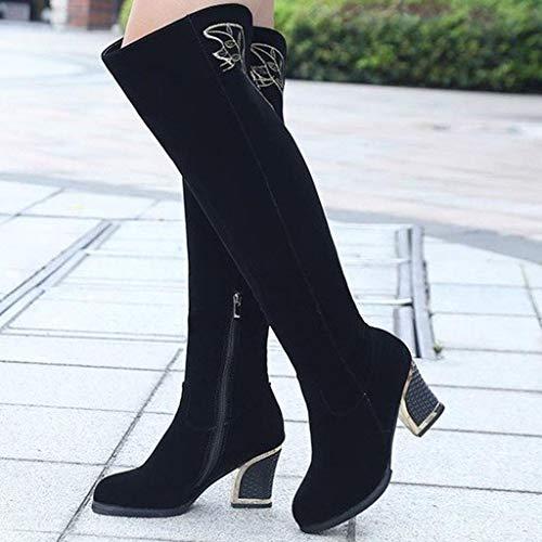 Ln-ZME Damen Flock Lange Stiefels Schwarz Seitlicher Reißverschluss mit Ferse Bestickten Warme Overknee Stiefel Quadratische High Heels Party Schuhe (40, Schwarz)