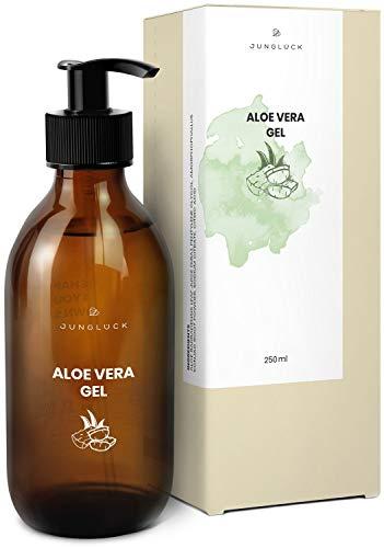 Junglück veganes Aloe Vera Gel in Braunglas - 95{d4b551759ab422c5e21e2fedacdb20a045e579d051d64a18602ca1bb49451ba4} Bio Aloe Vera Saft - Feuchtigkeitspflege für gesunde & schöne Haut - natürliche & nachhaltige Kosmetik made in Germany - 250 ml
