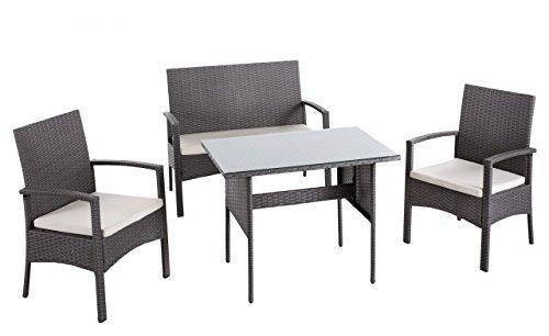 dafnedesign. COM–Set Wicker grau–Gestell: Metall/Rattan Polyrattan–Farbe: Grau–Kissen: inklusive–Farbe: ecru–bestehend aus: 2Sessel, 1Sofa 2Sitzer und 1Esstisch Sessel–Abmessungen: 57x 58x 90–Maße: 104x 58x 90–Tisch Maße: 90x 60x 70(DF8)