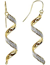 Jewelco London Ladies 9ct Yellow Gold MoonDust StarDust Twist Drop Earrings