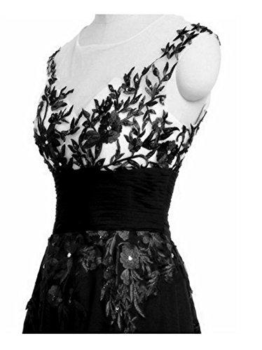 SHUNLIU Damen Spitze Abendkleid 2017 Elegant festlich Blumenstricken Rückenfrei Partyskleid Cocktailkleid Chiffon Faltenrock Langes Hochzeitskleid Blau Schwarz