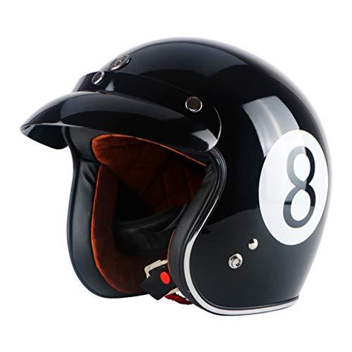 MENUDOWN Jet Helm Motorcycle Open Face Helm Retro Personalisierte Moto Bike Vintage Helm Moto Vespa Helm ECE 22-05,Black 8-XL(61~62cm) (Vespa Vintage Helm)
