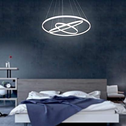 Eurekaled – Lampadario a sospensione LED moderno 3 anelli