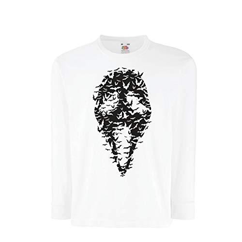 lepni.me Kinder-T-Shirt mit Langen Ärmeln Geister - gruselige Fledermäuse, Halloween Partykostüm (7-8 Years Weiß Mehrfarben)