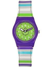 Lulu Castagnette - 38698 - Montre Fille - Quartz Analogique - Cadran Vert - Bracelet Plastique Multicolore