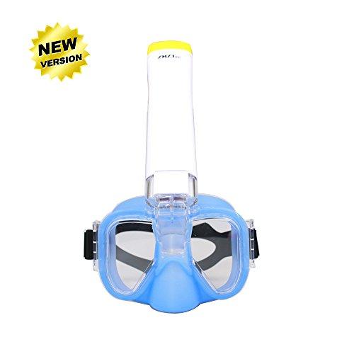Masque de plongée panoramique intégral, ZMZTec 2018 NOUVEAU pliable Masque de plongée Plein Visage 180° , anti-buée et anti-fuite, Snorkel masque de plongée libre respirant (Demi Visage Bleu)