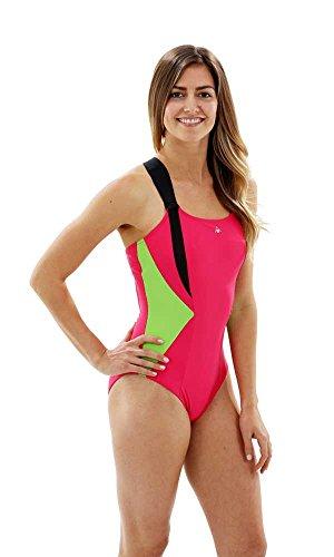 Aqua Sphere Siskin Wettkampf-Badeanzug, Damen XL Rosa/grün (Dark Pink/Green)