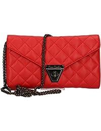 Cartera del bolso mujer de mano PIERRE CARDIN rojo cuero Made in Italy VN23